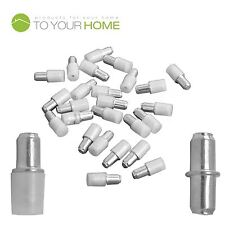 Pack of 100 5mm Shelf Supports, Steel Plug in Pegs with Plastic Covers for Glass
