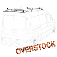 H1 3 Bar Aluminum Rack System (White) with Roller (Silver) for Transit Cargo Van