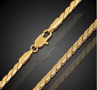 18k Goldkette Schlangenkette vergoldet 60cm dünn 2MM Damen Herren Panzerkette
