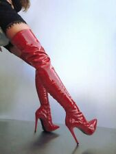 Thigh High Boots Womens Patent Leather Evening Clubwear Over Knee Stiletto Heels