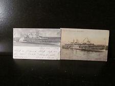 2 Antique Post Cards Hudson River Dayline Hendrick Ship New York 1908