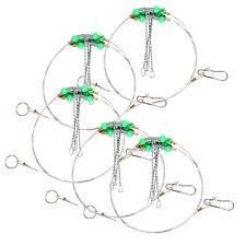 5pcs Swivel String Sea Fishing Hook Anti-Winding Steel Rigs Wire Leader Hooks