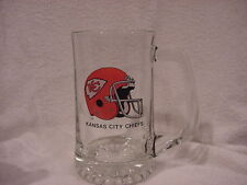 Gorgeous Kansas City Chiefs Huge 7 Inch Tall Clear Glass Beer Mug, Mint!