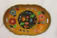 Vintage Wood Tray Tole Painted 19 1/2'' x 13'' Handled Folk Art Floral Mexican