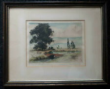CYRIL ANNING (1891-?) BRITISH ORIGINAL SIGNED COLOR ETCHING HAMPSHIRE MEADOWS