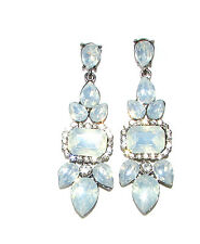 Art Deco Silver Duck Egg Light Blue Faux Opal Earrings Stud Drop 20s 1930s 1452