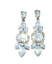 Art Deco Silver Duck Egg Light Blue Faux Opal Earrings Stud Drop 20s 1930s 1452