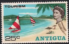 Antigua 1968 QE2 25ct Yachts & Beach Tourism Umm SG 218 ( H1088 )