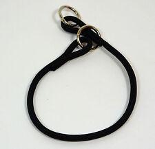 "NEW Black Nylon Round Braided Dog Choke Collar 15"" Small"