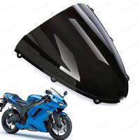 Black Double Bubble Windshield for Kawasaki Ninja ZX6R 2005-2008 ZX10R 2006-2007