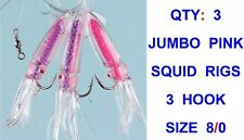Fladen Luminous Pink Squid Rig 3 X 8/0 Hooks With 12cm Lures