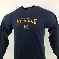 Michigan Wolverines NCAA Spell Out Jumper Blue Crew Neck Sz Medium / M Mens