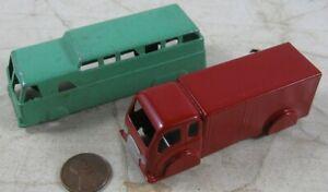 """2 Vintage 1940's Die Cast 3 1/2"""" Midget Toy Bus & Goodee Box Van"""