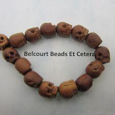 "Goth Style Nyatoh Wood Skull Beads 8"" Stretch Bracelet - Unique Style and Wood"