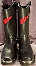 SIZE 6.5M, BLACK LEATHER RED WING BIKER, ENGINEER BOOTS, STUDS, VIBRAM SOLE