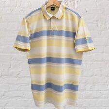 New listing cotton traders polo shirt baby yellow & blue M striped stripes tshirt tee top