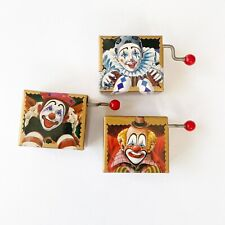 Washino Clown Mini Music Box Lot Hand Crank Happy Birthday Set Of 3 All Working