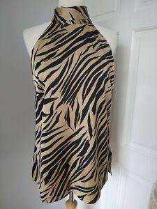 New Never fully dressed Scarlett Zebra Gold blouse top M Medium tie neck BNWT