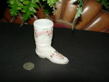 Vintage - FENTON FLORAL miniature BOOT - mini glass figurine