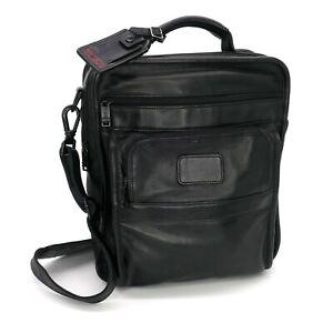 TUMI Alpha Messenger Black Leather Men's Crossbody Bag Travel Organizer Tote