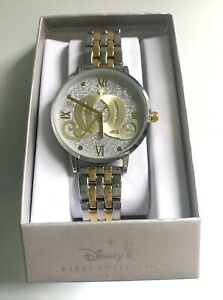 NEW DISNEY PARKS COLLECTION CINDERELLA'S CARRIAGE SILVER & GOLD TONE WATCH