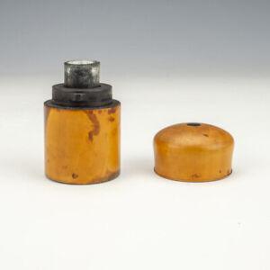 Antique Polished Wood - Inlaid Ebony Decorated Pocket Travel Inkwell Ink Bottle