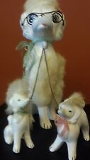 VINTAGE POODLE FAMILY WHITE WITH BLUE GLASSES FUR MADE IN JAPAN