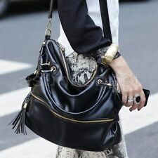 Fashion Womens Tassels Big Leather Tote Handbag Shoulder Cross Body Bag