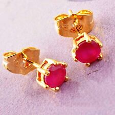 RED RUBY 1.89 CTW PRONG SET 9K gold womens lucky Stud Earrings