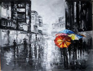 Grey skies oil painting NOT a print or poster. love, rain, umbrella, Paris, hope