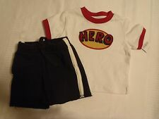 GYMBOREE Baby Boys 3-6 Month Super Hero Shirt Soccer Short Outfit NWT