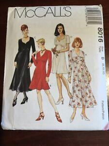 Vintage New MCCALL'S Misses Dress Pattern 8016 Size 8-12 Uncut