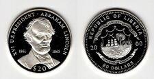 LIBERIA   20 Dollars 2000   US-Präsidenten   Abraham Lincoln    Silber/PP