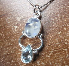 Moonstone and Faceted Blue Topaz 925 Sterling Silver Pendant 698t