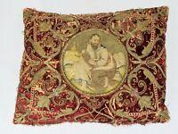 Antique 17th 18th c. Venetian Fortuny Red Velvet Gold Thread Pillow Saint Luke