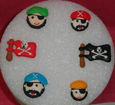 Pirate Edible Sugar Royal Icing Cupcake Toppers, DecoPac, Multi-Color,Decoration