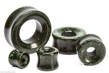 "PAIR-Glass Goldstone Green Double Flare Ear Tunnels 16mm/5/8"" Gauge Body Jewelry"