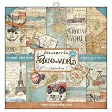Stamperia Around the World 12 x 12 Paper Pack Maps Balloon Bicycle Train