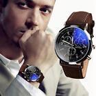 Fashion Luxury Business Leather Band Quartz Analog Stainless Steel Wrist Watch