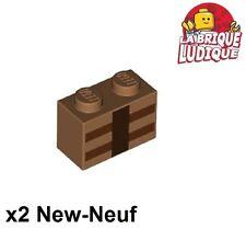 Lego - 2x Brick decorated Minecraft medium dark flesh 3004pb123 21121 21120 NEUF