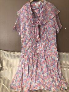 Vintage Elisabeth Silk Peach Pink Purple Floral Shirtdress | Size L-1X 14