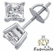 CERTIFIED .70ct  H/VS2 PRINCESS-CUT GENUINE DIAMONDS IN 14K GOLD STUDS EARRINGS