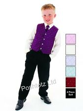 Boys Suits 4pc Purple & Black Formal Suit, Weddings, Christening & Prom, pageboy
