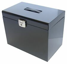 Black A4 Metal File Filing Box Home Office Storage Lockable 5 Free Files