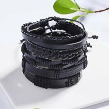 5pcs Fashion Men Leather Black Braided Wristband Cuff Bracelet Bangle adjustable