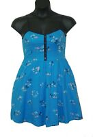 LC Lauren Conrad Blue Palm Tree Sailboat Print Sun Dress Size 8 Spaghetti Strap