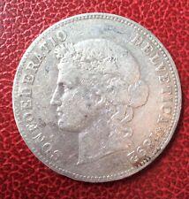 Suisse -  Rare  et  Jolie Monnaie de 5 Francs 1892 - Helvetia