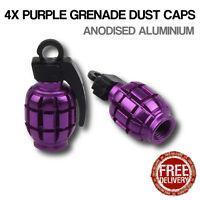 4x Purple Grenade Car Bike Motorcycle BMX Wheel Tyre Valve Metal Dust Caps