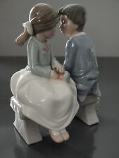 First Love Couple On Bench Porcelain Figurine Girl And Boy Nao By Lladro #1136