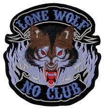 #43 Lone Wolf No Club Biker Kutte Backpatch Rückenaufnäher Aufnäher 22,5 x 24 cm